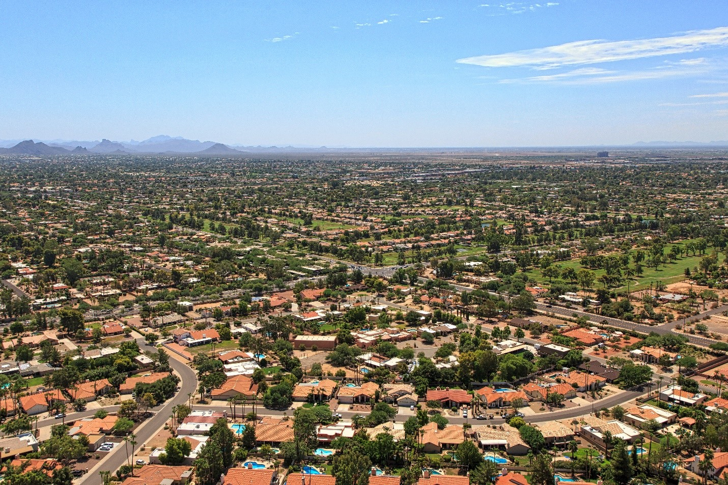 An Aerial Photo of a Neighborhood with Great Arizona Curb Appeal